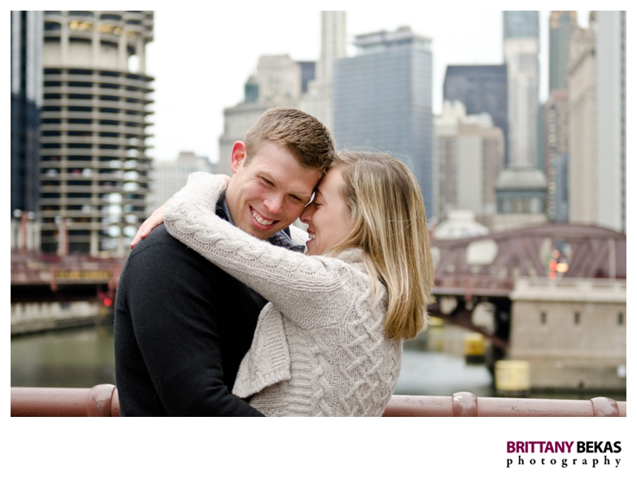 Lasalle Street Bridge Chicago Engagement - Brittany Bekas Photography