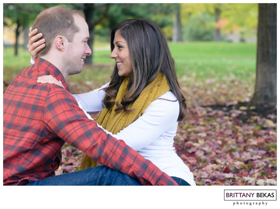 "During their engagement session, I couldn't help but smile the whole time. These two are so adorable together .... I'm pretty sure I kept telling them how cute they are to the point of being annoying, but I couldn't help it. Hillary and Jack would be so sweet with each other ... giving each other soft kisses as if no one was there and then moments later Hillary was tossing leaves at Jack with the cutest apology (""sorry, Brittany, I couldn't resist"")."