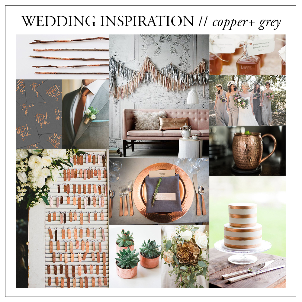 wedding color inspiration // copper and grey cement