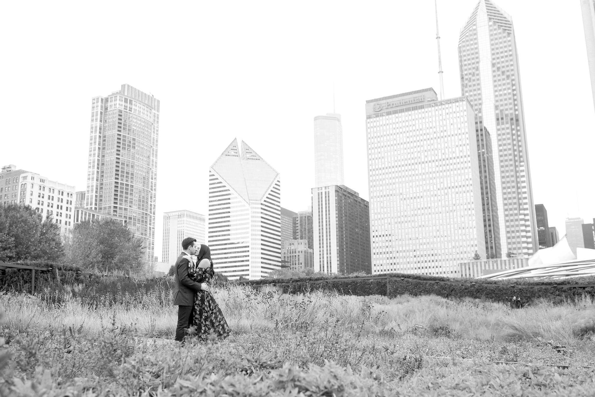 chicago wedding photos with chicago skyline - lurie gardens engagement photos