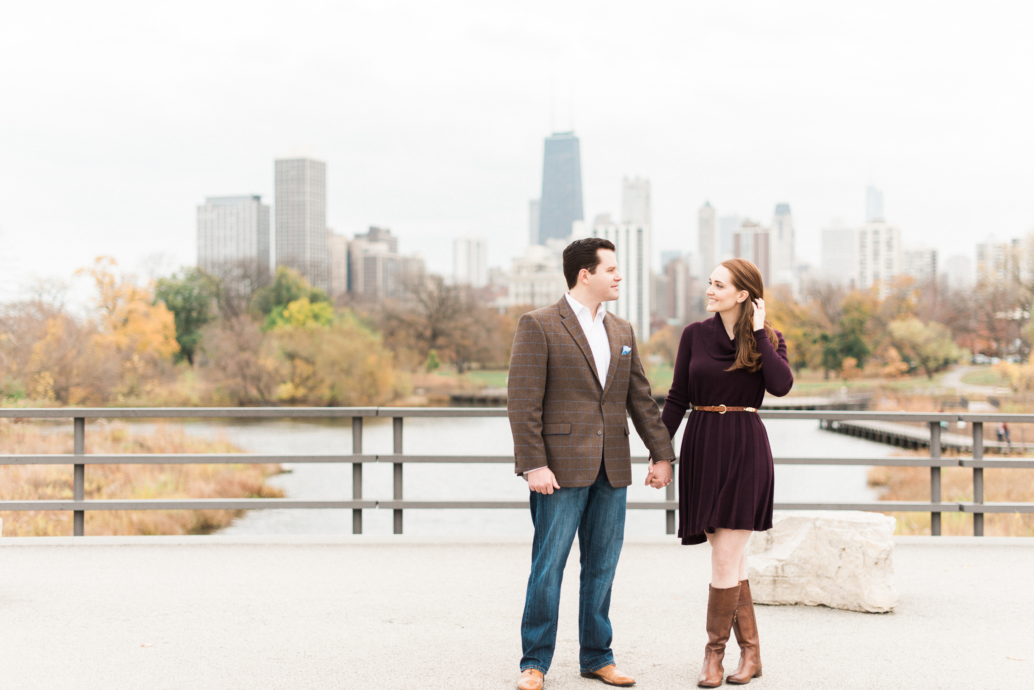 chicago engagement photos with skyline - lincoln park