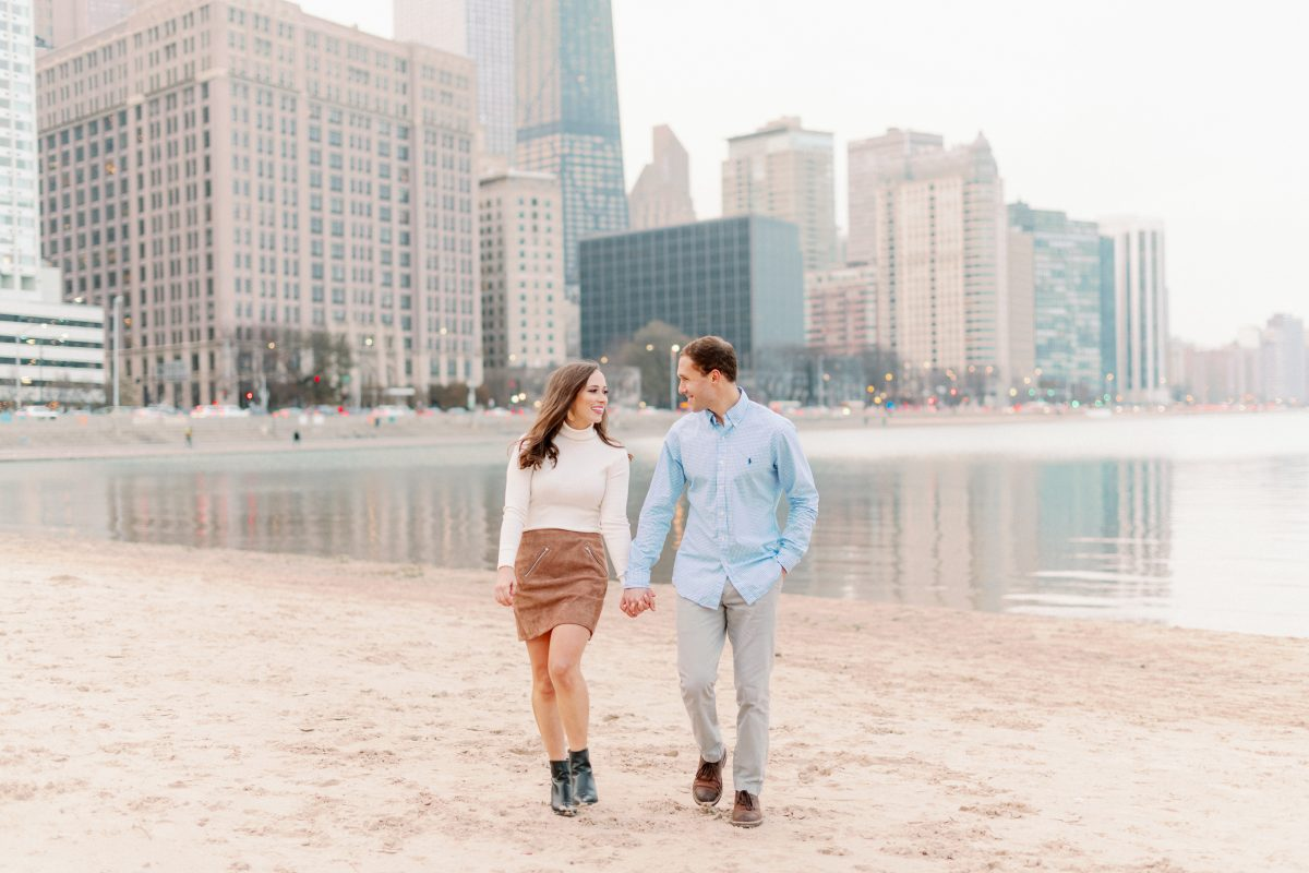 Ohio Street Beach Chicago Engagement Photos