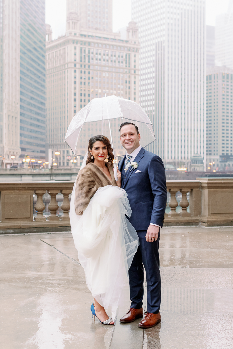 Chicago Winter Wedding - Chicago Wrigley Building Photos