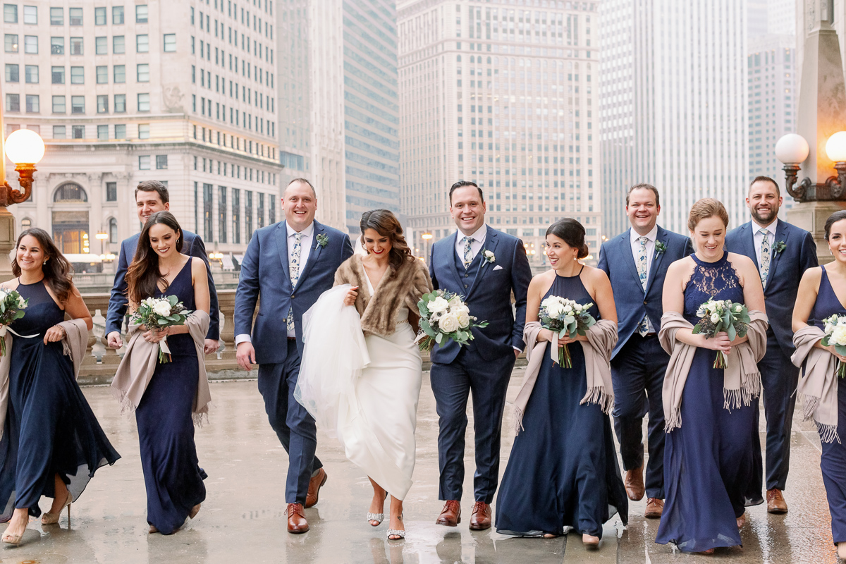 Chicago Wrigley Building Wedding Photos - Chicago Light and Airy Wedding Photographer
