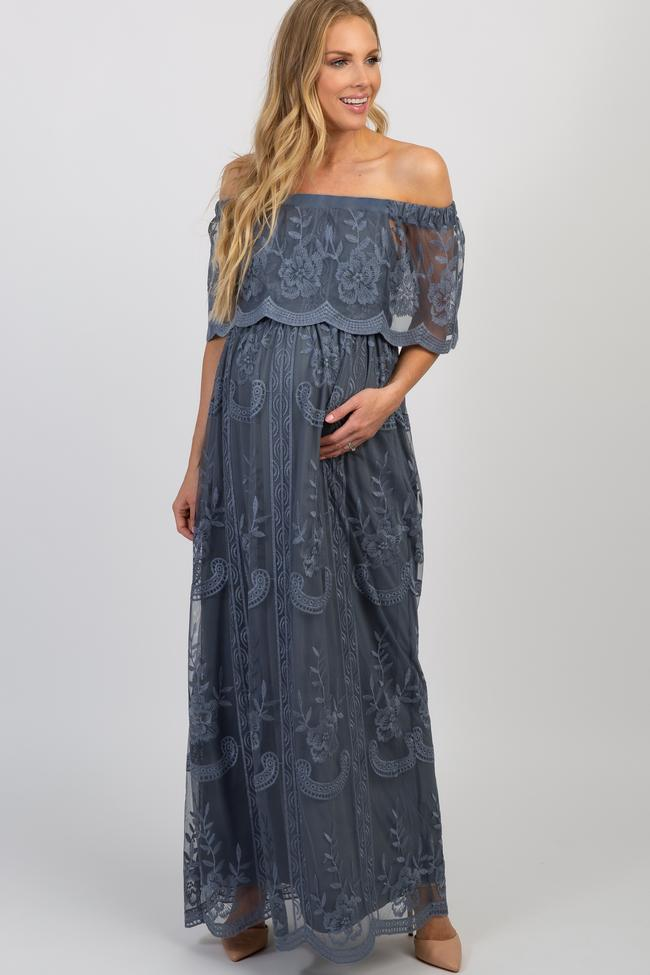 long lace maternity dress – what to wear for maternity photos