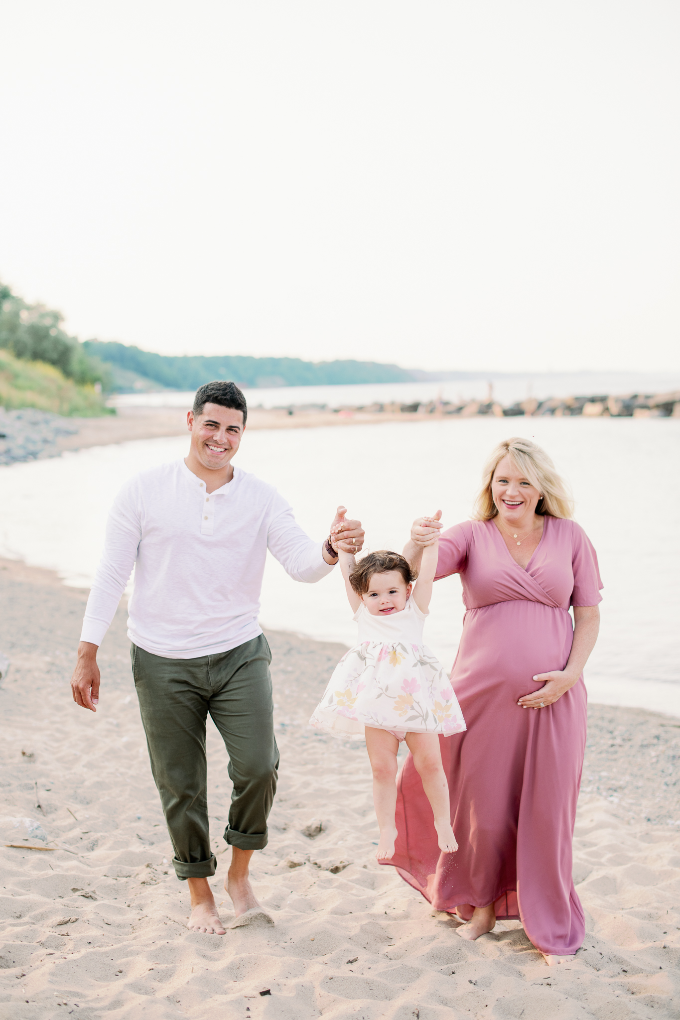 Beach Maternity Session - Light + Airy Family Photographer