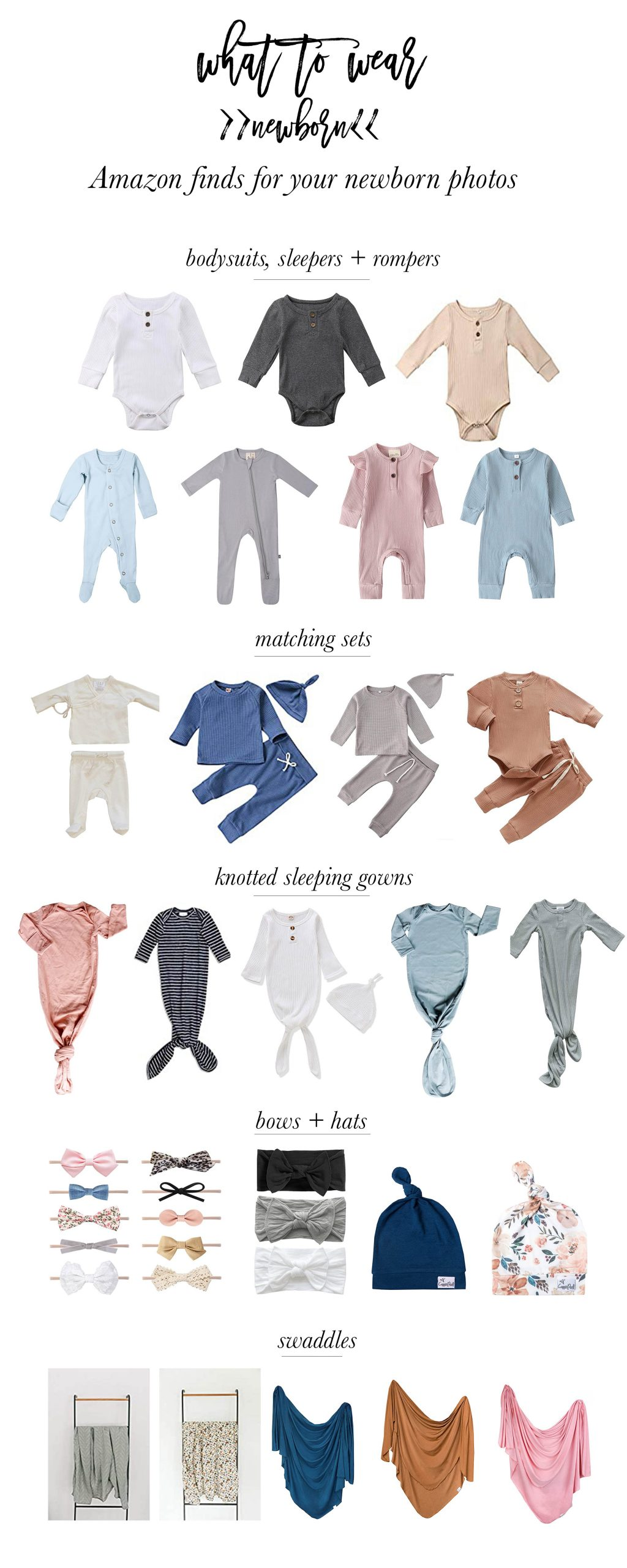 What to wear for in home studio lifestyle newborn photos- amazon newborn outfits for photos